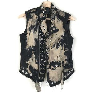 Urban outfitters Black Bess X Uo Grommet Moto Vest